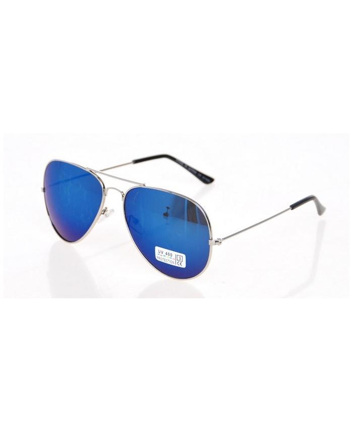 Aviateur monture argent e et verres miroirs bleu for Lunette soleil verre bleu miroir