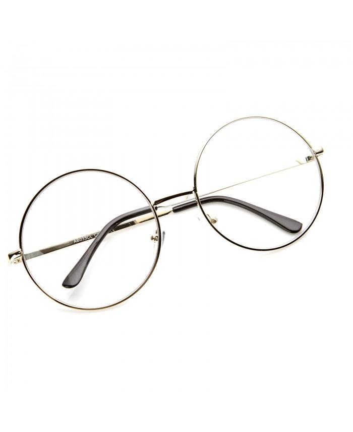 lunettes sans correction ronde oversize monture dor e. Black Bedroom Furniture Sets. Home Design Ideas