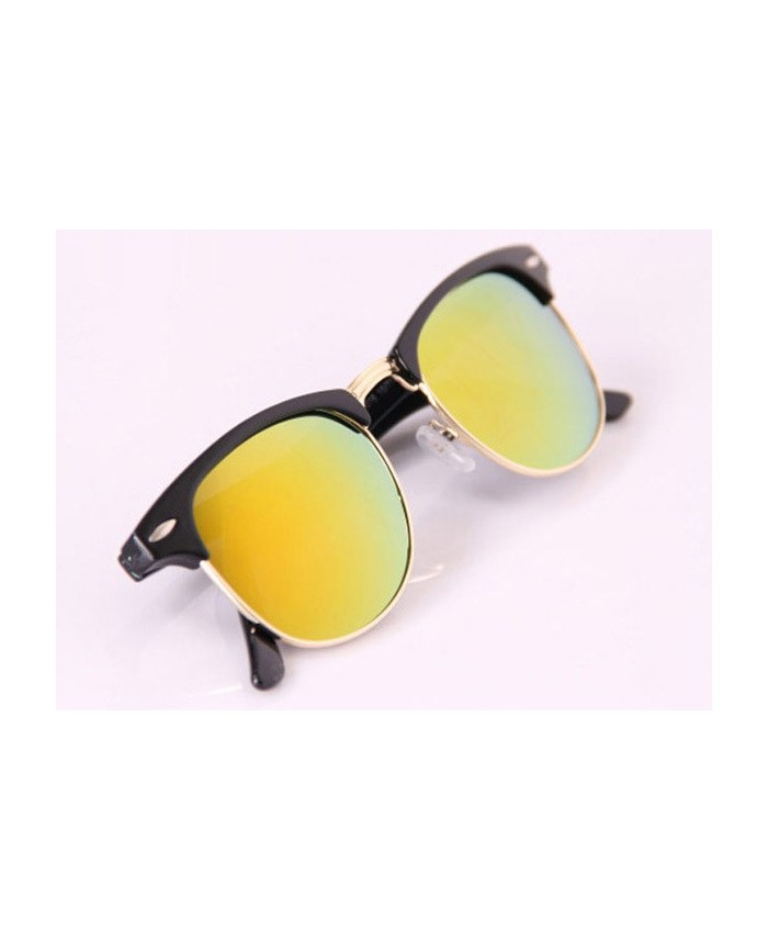 Lunette style clubmaster miroir jaune for Miroir jaune