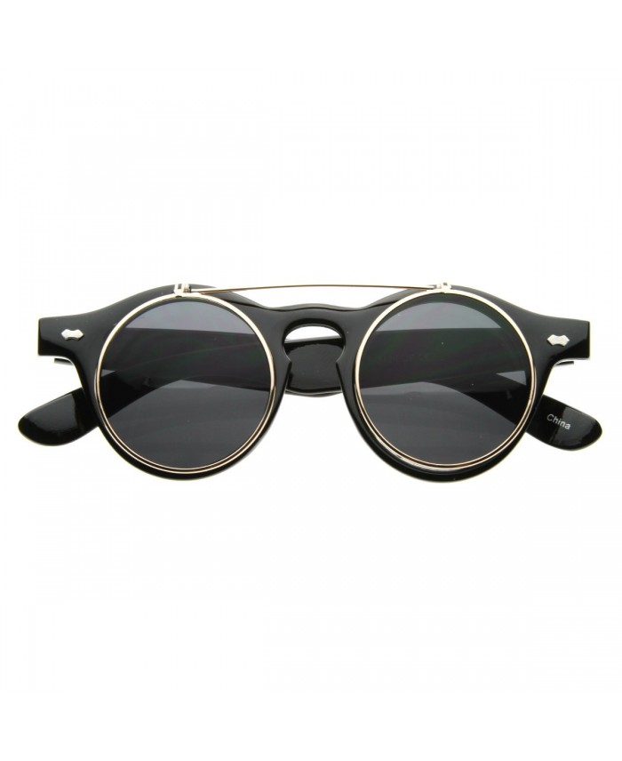 lunettes ronde flip up steampunk noir. Black Bedroom Furniture Sets. Home Design Ideas