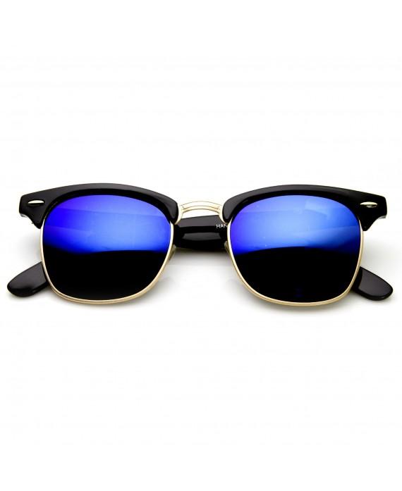 Lunette style Clubmaster Miroir bleu