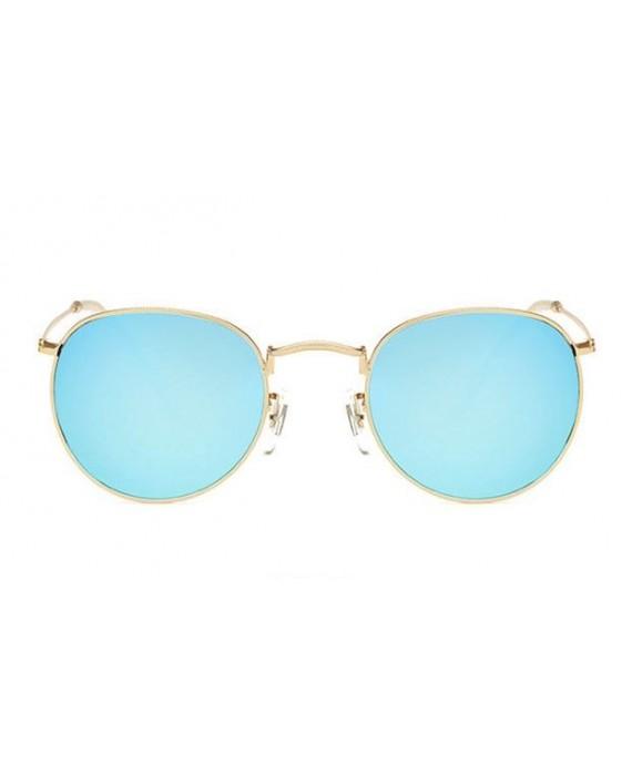 Lunettes de soleil ronde 90 39 s miroir bleu for Lunette soleil verre bleu miroir