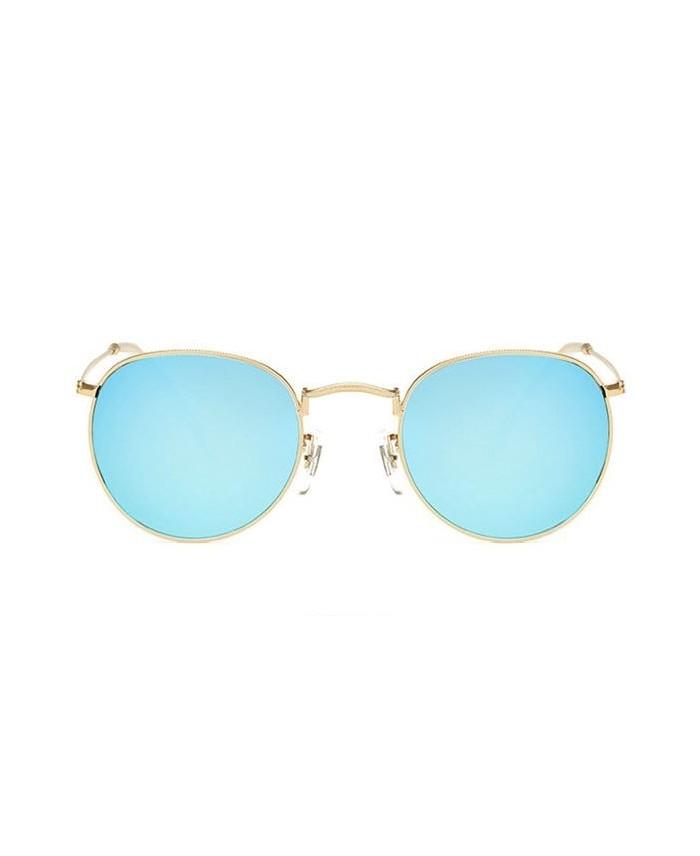 Lunettes de soleil ronde 90 39 s miroir bleu - Miroir en forme de lunette ...