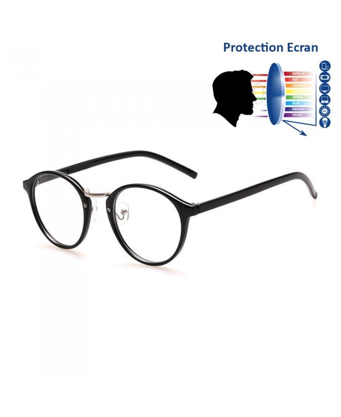 lunettes anti reflet bleu ronde noir. Black Bedroom Furniture Sets. Home Design Ideas