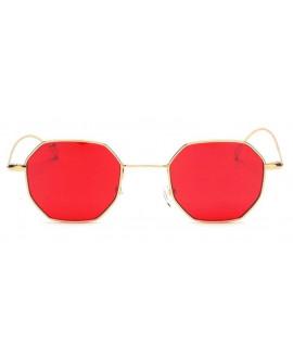 Lunettes de soleil octogonale rouge